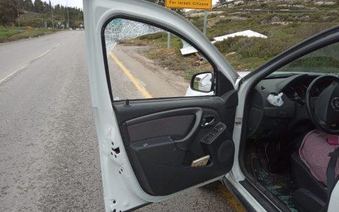 נזק לרכב בפיגוע אבנים בין בית אל לפסגות