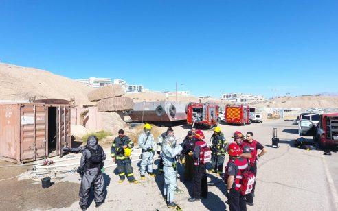 לוחמי האש ושוטרי מרחב אילת תרגלו טיפול באירוע טרור עם מעורבות של חומר מסוכן