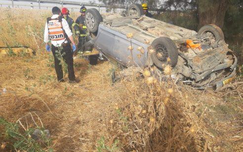 כביש 6: נהג רכב שהתהפך נפצע באורח בינוני