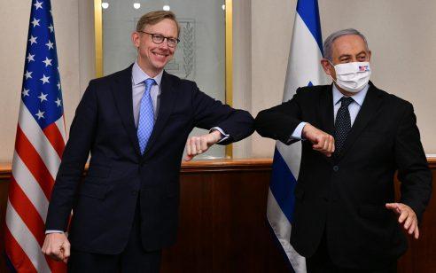 """נתניהו נפגש עם השליח האמריקני המיוחד לענייני איראן בריאן הוק, בלשכת רה""""מ בירושלים"""
