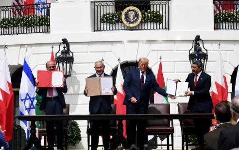 יום היסטורי: טקס חתימת הסכם השלום עם איחוד האמירויות ובחריין בבית הלבן