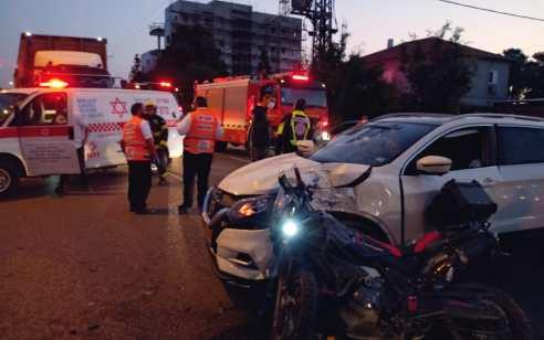 פצוע בינוני ו-3 קל כתוצאה מתאונה בפרדס חנה