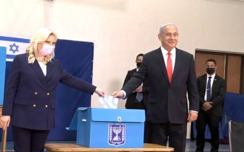 ראש הממשלה בנימין נתניהו ורעייתו הצביעו בקלפי בירושלים